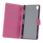 Lichee Pattern Case w/ Card Slots for Sony Z3 - Red + Deep Pink (2PCS)