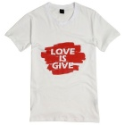 Men's Letter Pattern Simple Short-Sleeve Cotton T-Shirt Tee - White (XL)