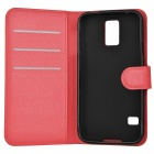 Lichee Pattern PU Case w/ Stand for Samsung S5 - White + Red (2PCS)