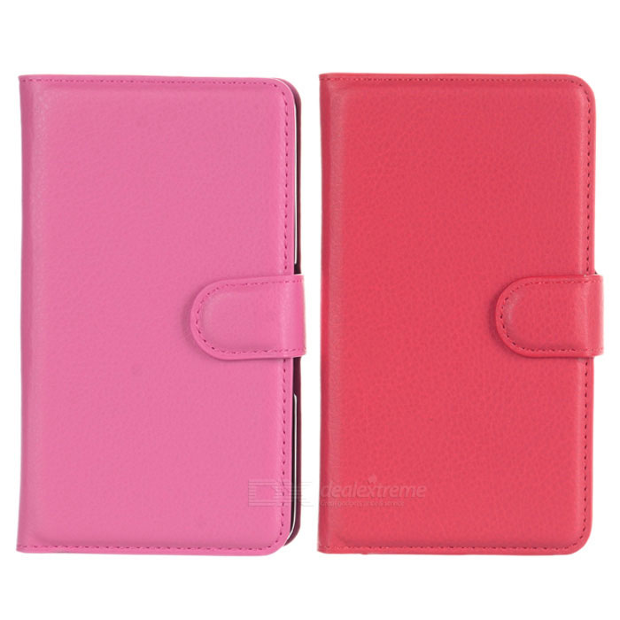 Lichee Pattern PU Case w/ Stand for Xperia E4 - Red + Deep Pink (2PCS)
