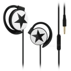 Universal 3.5mm Ear-hook Earphones w/ Mic. for IPHONE / Samsung / HTC / Nokia + More - Black + White