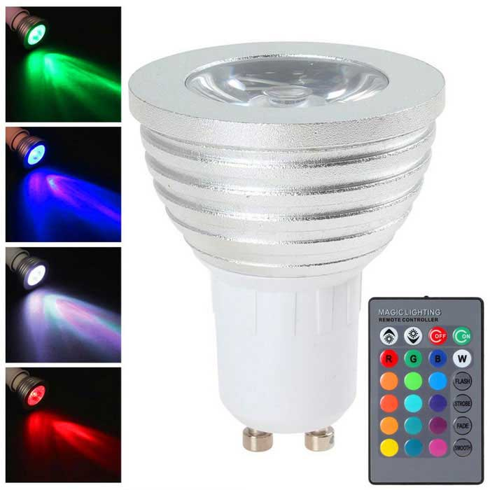 GU10 3W Multi-color Dimmable LED Bulb w/ Remote Control (AC 100~240V)
