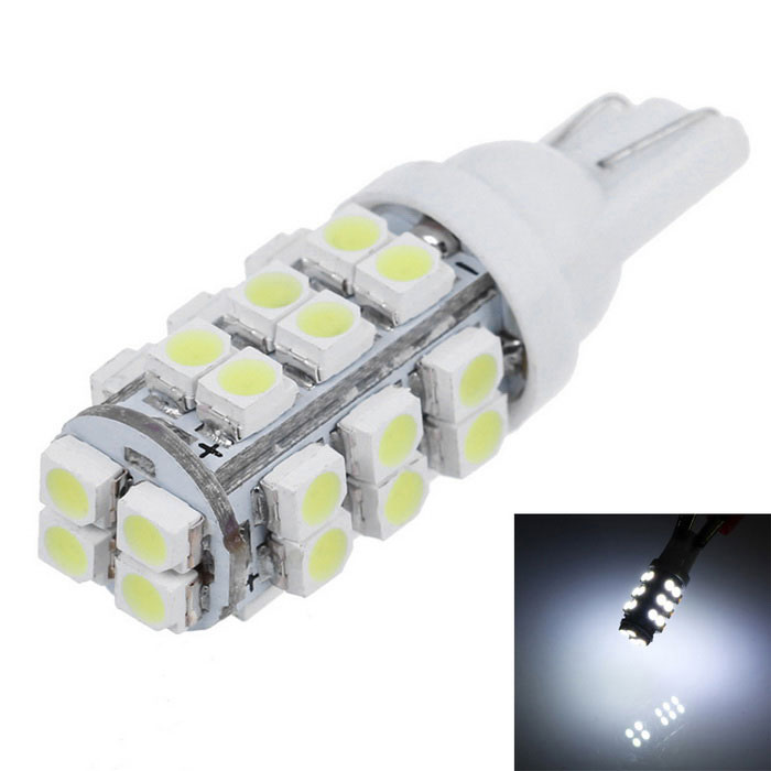 T10 4.8W LED Car Wide Lamp White 110lm 28-SMD - White+ Silver (2PCS)