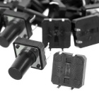 12 x 12 x 14mm Slightly Touch Button Tact Switches - Black (20 PCS)