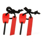Outdoor Camping Survival Fire Starter Flintstone Magnesium Rod w/ Scraper & Strap - Red (S / 2pcs)
