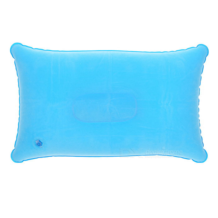 Travelling Flocked Cloth Air Inflatable Cushion Pillow - Light Blue