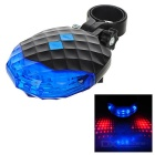 5-LED 7-Mode Blue + 2-Laser 2-Mode Red Bike Safety Warning Tail Light Lamp - Black + Blue (2 x AAA)