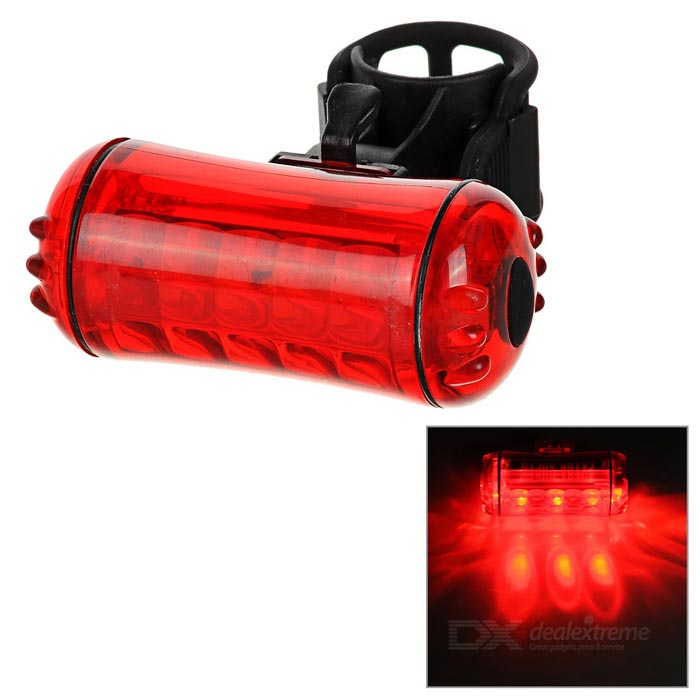 Bike Cycling Waterproof Red Light 3-Mode Alarm Lamp / Tail Lamp - Red