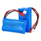 Replacement 18650 7.4V 1500mAh Li-ion Battery for R/C Helicopter - Blue + Red + Black (2pcs)