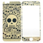 3D Laser Etching Skull Pattern Glass Front + Back Guards Protectors Set for IPHONE 6 - Golden