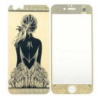 3D Laser Etching Girl's Back Pattern Glass Front + Back Guards Protectors Set for IPHONE 6 - Golden