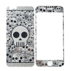 3D Laser Etching Skull Pattern Glass Front + Back Guards Protectors Set for IPHONE 6 - Silver
