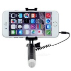 Mini Wired Selfie Monopod for Cellphone / Camera - Black + White