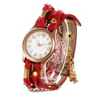 Women's Fashionable Cow Leather Band Analog Quartz Bracelet Watch - Red + Golden (1 x 377)