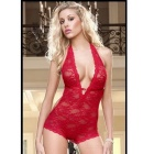 Women's Sexy Lace Deep V Neck Halter Backless Teddy Lingerie Sleepwear Nightwear - Red