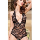 Women's Sexy Lace Deep V Neck Halter Backless Teddy Lingerie Sleepwear Nightwear - Black