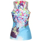 Women's Fashionable Patterned Elastic Slim Nylon + Spandex Vest Top - Blue + Multi-Color