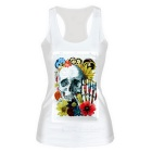 Women's Elastic Slim Nylon + Spandex Vest Top - White + Multicolored