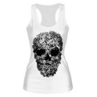 Women's Elastic Slim Nylon + Spandex Vest Top - White + Black