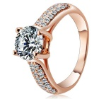 Rshow S925 Silver Zircon Finger Ring for Women - Rose Gold (US Size 8)