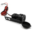 DIY Waterpoof 12V USB Motorcycle Cigarette Lighter Charger - Black