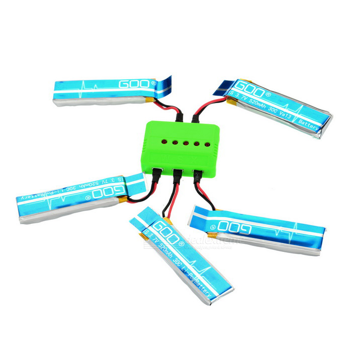 X5A-A08 5-520mAh Batteries/Charger/Converter /Data Cable Set - Blue