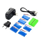 6*380mAh Batteries/1-to-6 Charger/Converter/Cable Set - Black + Blue