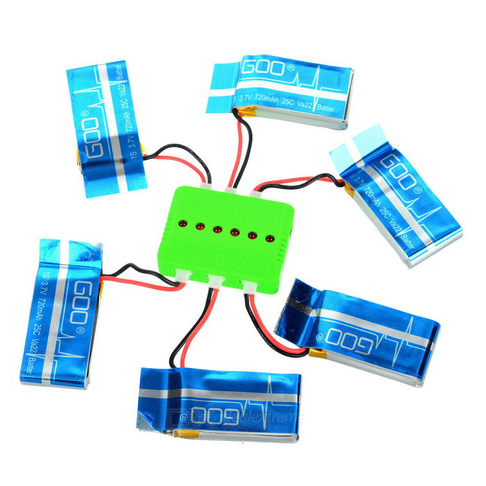 X6A-A05 6-720mAh Batteries + 1-to-6 Charger + More Set - Multicolored