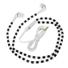 Beads Patterned In-Ear Earphones w/ 3.5mm Jack - White + Black