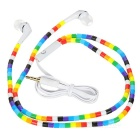 Beads Pattern In-Ear Earphones w/ 3.5mm Jack - White + Multi-Colored