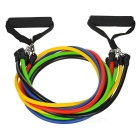 11-in-1 Latex Tube / Pull Rope / Elastic String Set - Black + Multicolor
