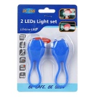 Tadpole estilo multi-color 2-LED luz moto de advertência - safira (2PCS)