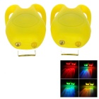 Tadpole Style 3-Mode Multi-color 2-LED Warning Bike Light - Yellow (2 x CR2302 / 2PCS)