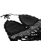 Women's Knit Padded Bra Tassel Crop Top + Panties Bikini Set - Black