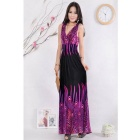 Summer Fashionable Peacock Bohemia Style Deep V Neck Long Beach Dress - Black + Purple