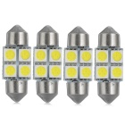 Festoon 31mm 0.4W Car LED Lights Cool White 7103K 35lm 4-5050 SMD - Silver + Yellow (12V / 4PCS)