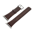 TOCHIC Leather Watchband w/ Stainless Steel Buckle for Apple Watch 38mm - Brown + Black