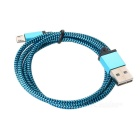 Universal USB / Micro USB Nylon Braided Data Cable - Blue (100±3cm)