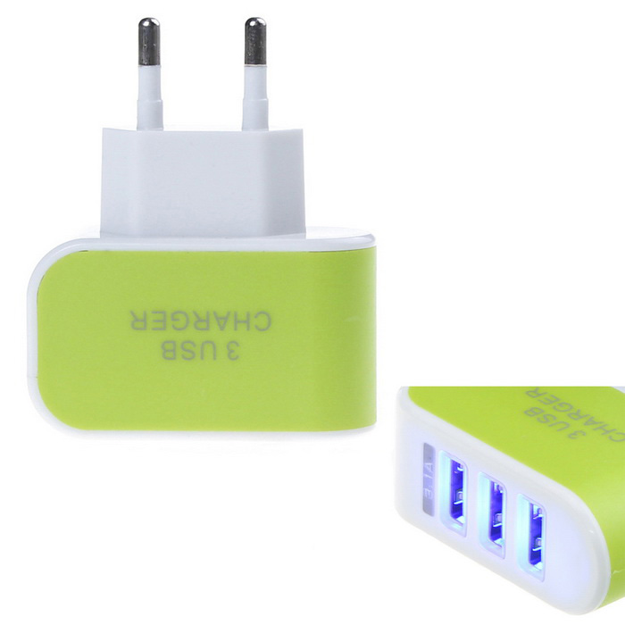 Light-emitting 3-Port USB Power Adapter Charger - Green (EU Plug)