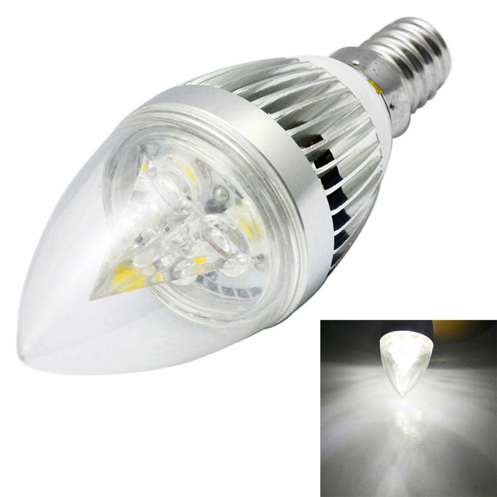 JIAWEN E14 3W LED Dimmable Bulb Cool White 0~300lm - Silver (110~240V)