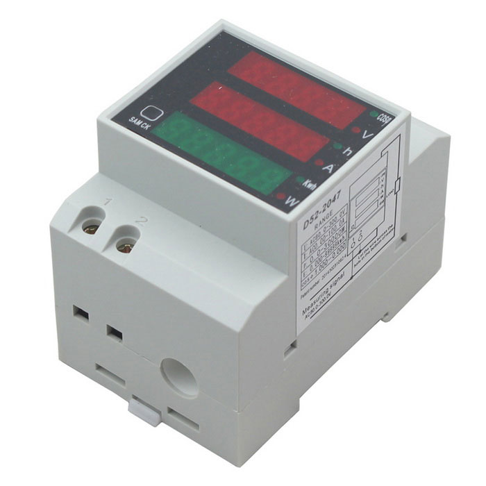 D52-2047 80-300V Digital DIN Rail Current Voltage Power Factor MeterDIY Parts &amp; Components<br>ModelD52-2047Quantity1 setForm  ColorWhiteMaterialPlasticEnglish Manual / SpecYesCertificationCEPacking List1 x Meter1 x English manual<br>