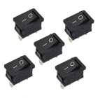 Jtron 6~10A 125~250V 3Pin Tab Switches - Black (5PCS)