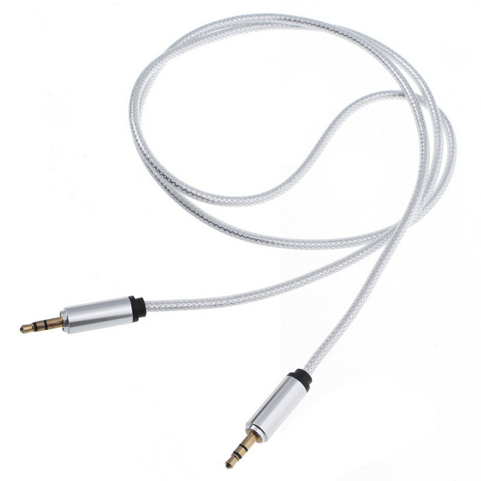 3.5mm Male to Male Car AUX Audio Cable - Silver (100cm)