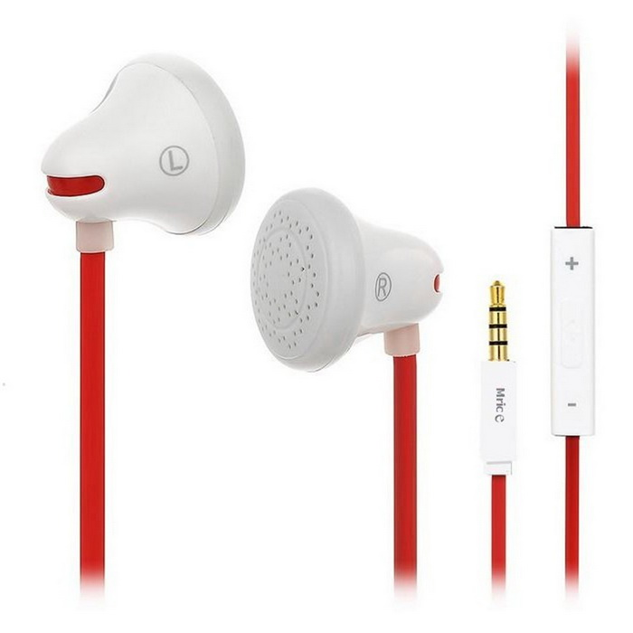Mrice E100A Bell Shaped Earbuds 3.5mm Earphones w/ Mic, Remote - White