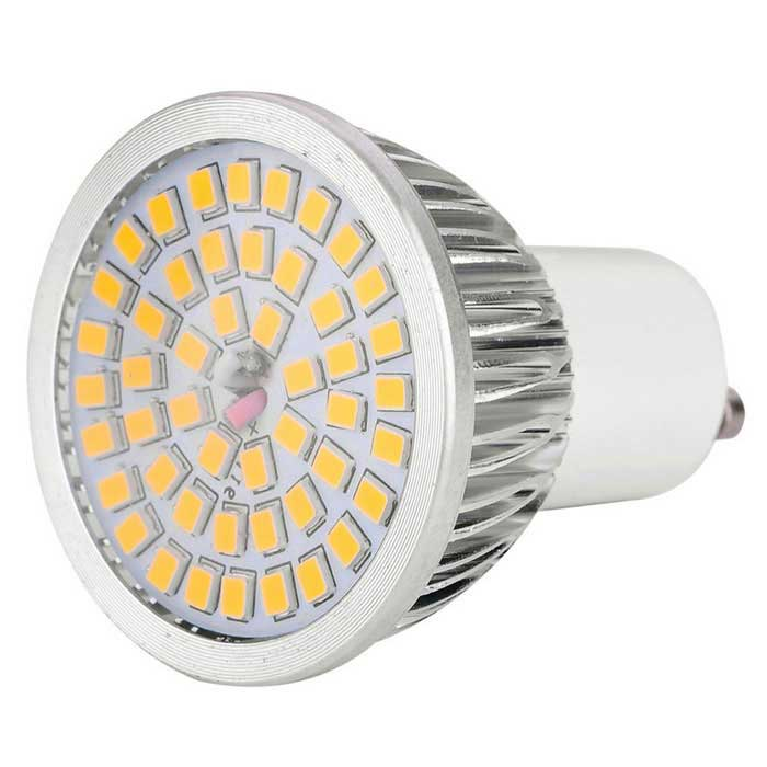 YWXLight GU10 7W LED Spotlight Bulb Warm White Light 3000K 48-SMDGU10<br>Form  ColorSilver + White + Multi-ColoredColor BINWarm WhiteMaterialPlastic + aluminum alloyQuantity1 piecePower7WRated VoltageAC 100-240 VConnector TypeGU10Theoretical Lumens840 lumensActual Lumens640 lumensEmitter TypeOthers,2835 SMDTotal Emitters48Color Temperature3000KDimmableNoBeam Angle180 °Packing List1 x LED bulb<br>