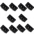 Jtron 2.5A 250V 2-Pin Power Sockets - Black (10PCS)