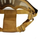 Outdoor Tactical Steel Mesh Mask w/ Elastic Belt for War Game - Tan