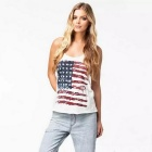 US Flag Pattern Printed Cotton Vest / Sleeveless Shirt - White (Size L)