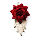 High-End Vintage Lace Rose Flower Brooch Costume Jewelry w/ Bell - Red