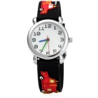 Cartoon Car Style Green Silicone Children Quartz Analog Watch - Black + Multicolor (1 x SR626)